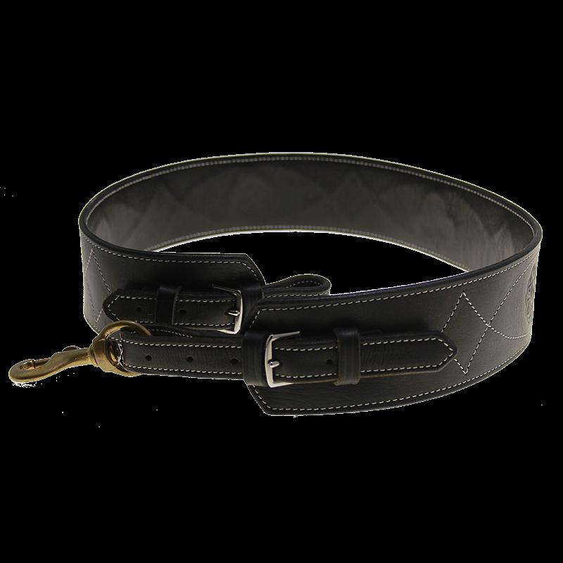 Correa cintura para tambor o caja con costura reforzada negra con estampado.