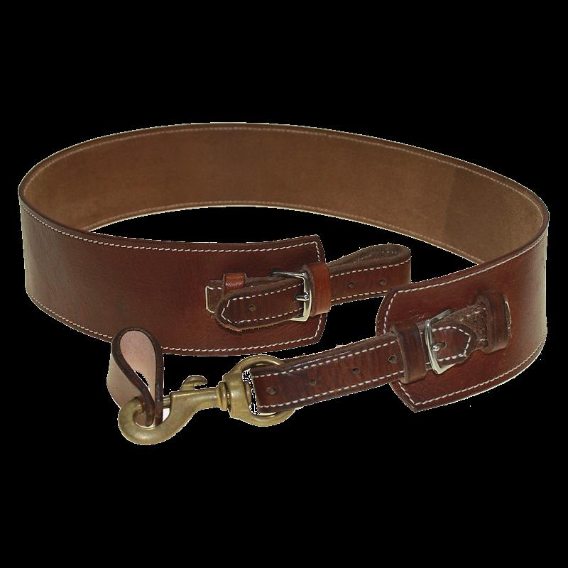 Correa cintura para tambor o caja con costura reforzada marrón.
